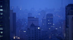 City metropolis landscape. Large south american city at night. Stock Footage