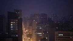 City metropolis landscape. Large south american city at night. Energy consump Stock Footage
