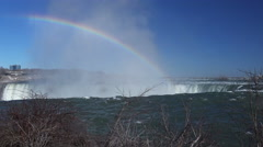 Majestic Niagara Falls with mist and rainbow, Canadian Side Stock Footage