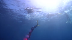 Freedivers freediving in bluewater in Australia, HD, UP31042 Stock Footage