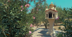 Traditional Memorial Chapel Kandylakia in Greece Stock Footage