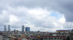 Horizontal panning view over the rooftops in Istanbul - stock footage