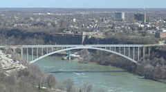 View of the Peace Bridge between Canada and the United States Stock Footage