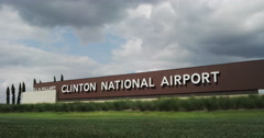 Bill and Hillary Clinton Airport Sign - stock footage