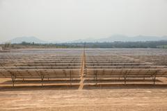 The solar farm for green energy in Thailand - stock photo