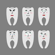 Set teeth with emotions. Cheerful and angry tooth. Surprise and sadness tusk. Stock Illustration