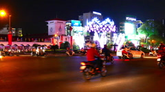 Horizontal panning view of the busy night traffic of the Ho Chi Minh City Stock Footage