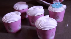 Cupcake with brush embroidery Stock Footage