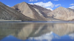Himalayan mountains and water Pangong tso Lake . Tibet, Leh, Ladakh. India Stock Footage