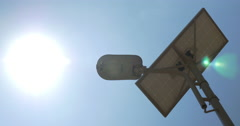 Lamp of Street Lighting with Solar Battery Stock Footage