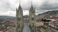 View over the roof of the Basilica del Voto Nacional, Quito, Ecuador Stock Footage