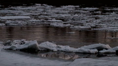 Ice drift on the river Stock Footage