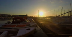Harbour with Yachts at Sundown Stock Footage