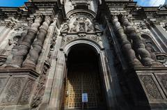 Stock Photo of Frontal door of emplematic church in historical center of Quito