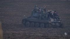 RUSSIA ST.PETERBURG- : soldiers rolled everyone in historic German tank - stock footage