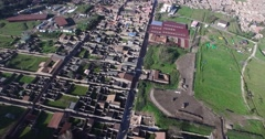 HIGH ANGLE FLY OVER OF FAMOUS POMPEI ARCHAEOLOGICAL ROMAN RUINS Stock Footage