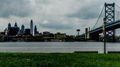 The modern buildings and Benjamin Franklin Bridge, Philadelphia, USA Stock Footage