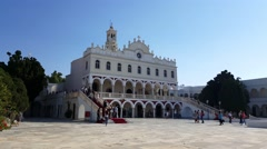 Tinos island, Cyclades Greece. The Holy Church of Panagia Evaggelistria. Stock Footage