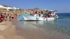 Mykonos, Greece - Water taxi from Paradise beach to Super Paradise beach. - stock footage