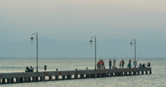 Sea Pier at Dawn in Greece Stock Footage