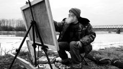 Artist en plein air Stock Footage
