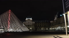 Hyperlapse of Louvre and Pyramid at night Stock Footage