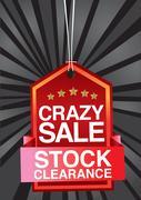 Crazy sale header design Stock Illustration