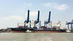 Cargo port in Cat Lai in Saigon in Ho Chi Minh city Stock Footage