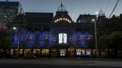 Princess Theatre, Melbourne night moving time-lapse Stock Footage