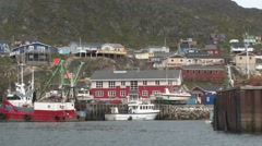View from boat arriving in Qaqortoq Stock Footage