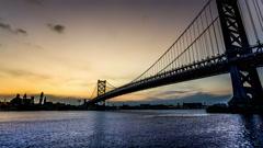 From sunset to night,the Benjamin Franklin Bridge and skyline, Philadelphia, USA Stock Footage