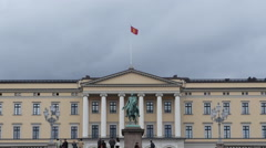 Zoom Out - Time Lapse of Clouds & People at the Royal Palace Oslo Norway - stock footage