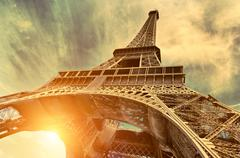 The Eiffel tower is one of the most recognizable landmarks in the world - stock photo