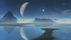 Alien planet and the moon in the reflection Stock Footage