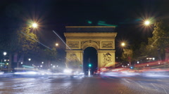 Timelapse of night traffic near Triumphal Arch Stock Footage