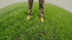 Red shoes on the green grass Stock Footage