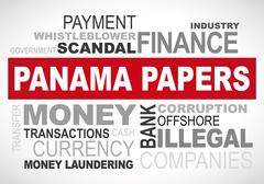 Panama papers scandal 2016 - word cloud vector graphic - stock illustration
