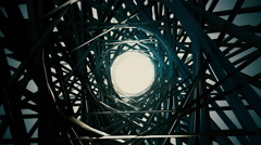 3D render, flying in a industrial tunnel abstract tunnel of metal structure 4K Stock Footage