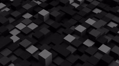 Dark grey 3D boxes. Loopable abstract background. 4k UHD (3840x2160) Stock Footage
