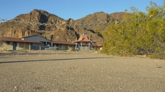 An abandoned, closed resort in the desert Stock Footage