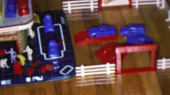 1964: Service center kids toy plastic game model imagination play. Stock Footage
