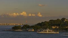Passenger ferry Bosphorus straits Istanbul Turkey sunset Stock Footage