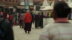 Nepal 1 Year After the Earthquake. Bodhnath Stupa Moving Timelapse 4K Stock Footage