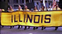 1960: Illinois state parade banner sign boy scouts marching. Stock Footage
