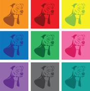 staffordshire terrier dog silhouette set - stock illustration