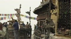 Nepal 1 Year After the Earthquake. Swayambhu Prayer Wheels Timelapse 4K Stock Footage