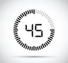 45 second timer - stock illustration