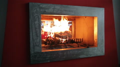 video shooting a modern fireplace with high heat - stock footage