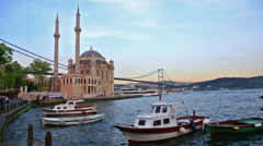 Pier near Ortakoy Mosque in Istanbul - stock footage