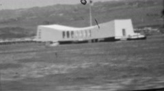 1964: USS Arizona Memorial at Pearl Harbor outside boating view. Stock Footage